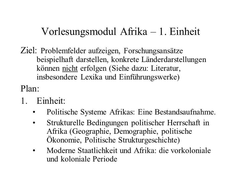 Vorlesungsmodul Afrika – 1. Einheit