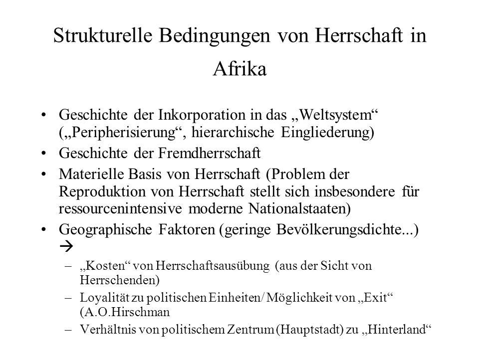 Strukturelle Bedingungen von Herrschaft in Afrika