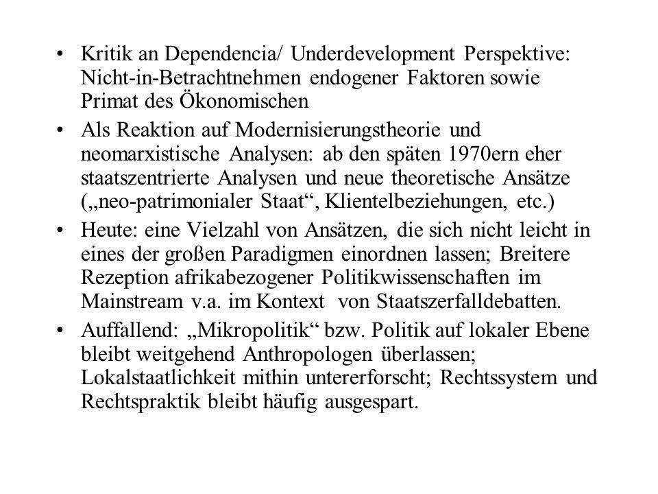 Kritik an Dependencia/ Underdevelopment Perspektive: Nicht-in-Betrachtnehmen endogener Faktoren sowie Primat des Ökonomischen