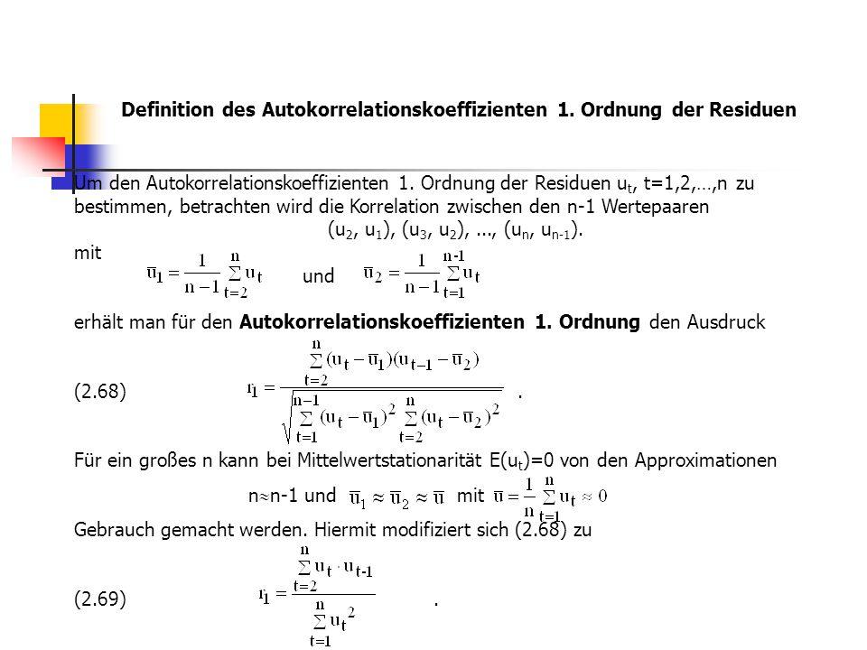 Definition des Autokorrelationskoeffizienten 1. Ordnung der Residuen