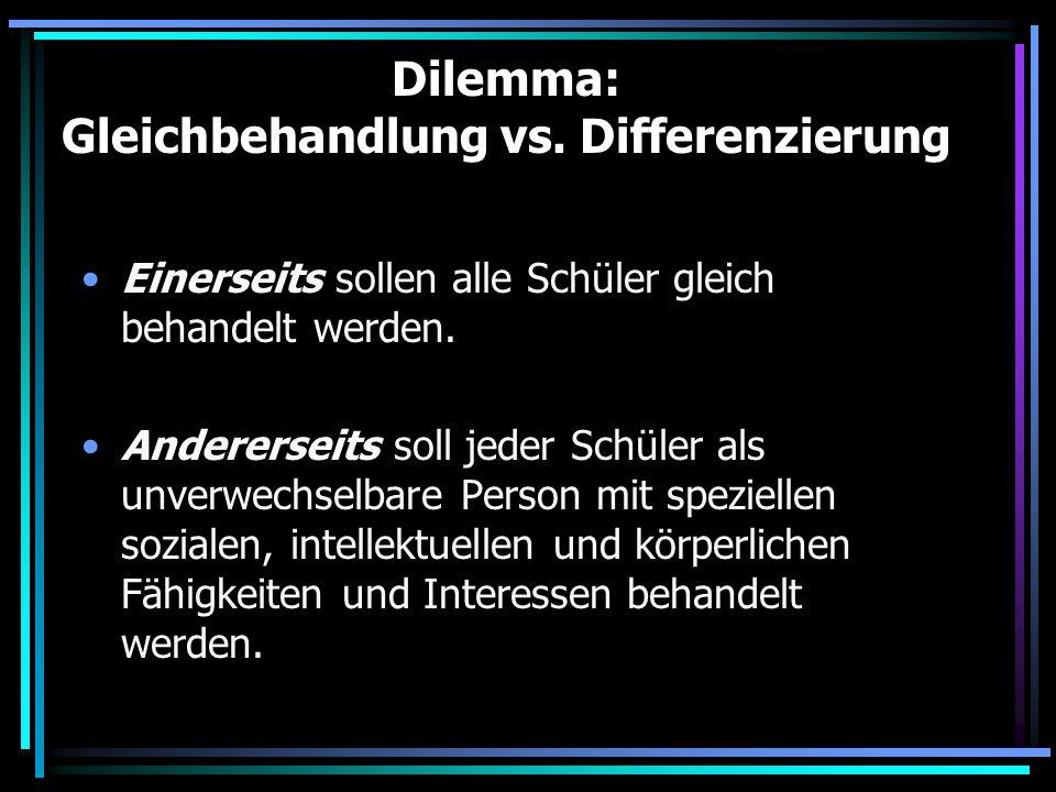Dilemma: Gleichbehandlung vs. Differenzierung