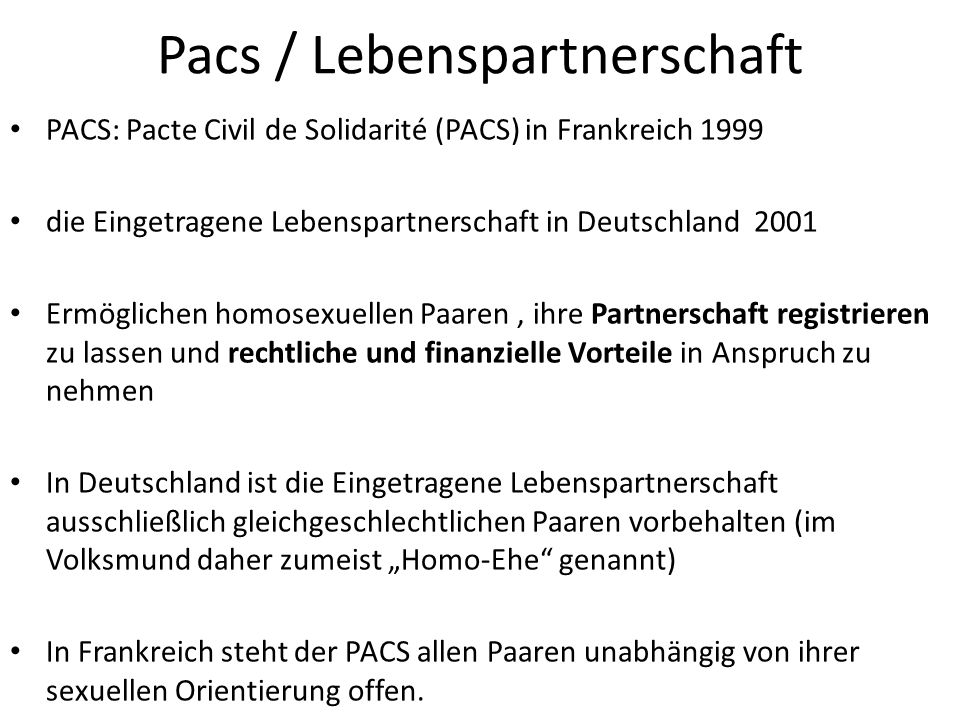 Pacs / Lebenspartnerschaft