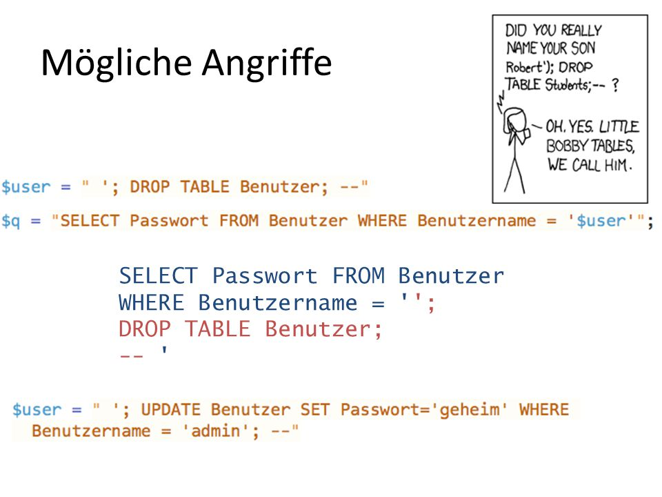 Mögliche Angriffe SELECT Passwort FROM Benutzer