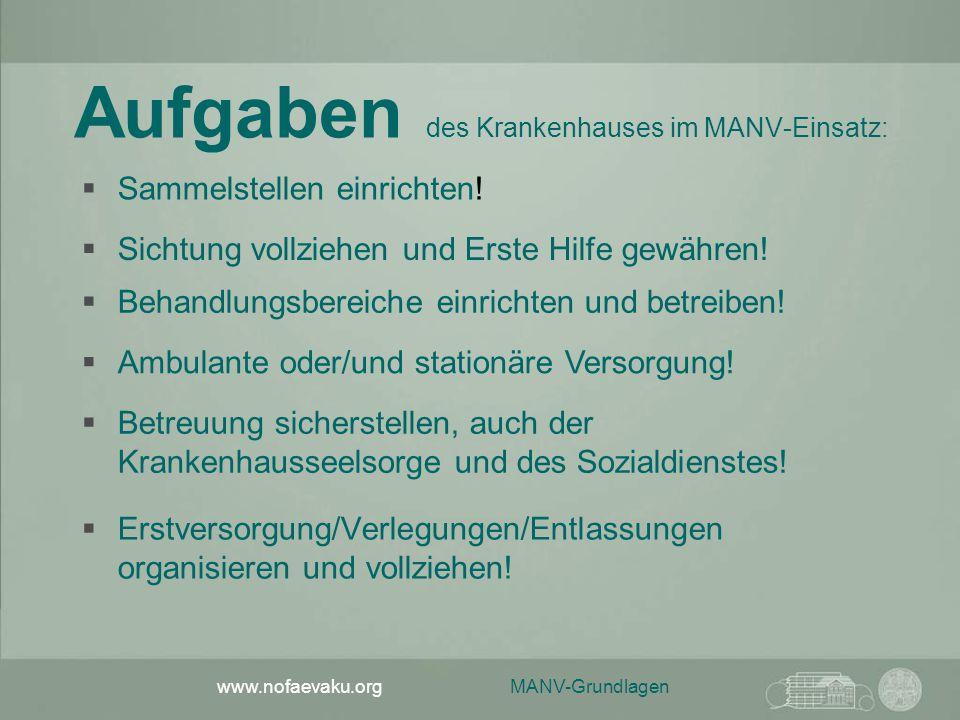 Aufgaben des Krankenhauses im MANV-Einsatz: