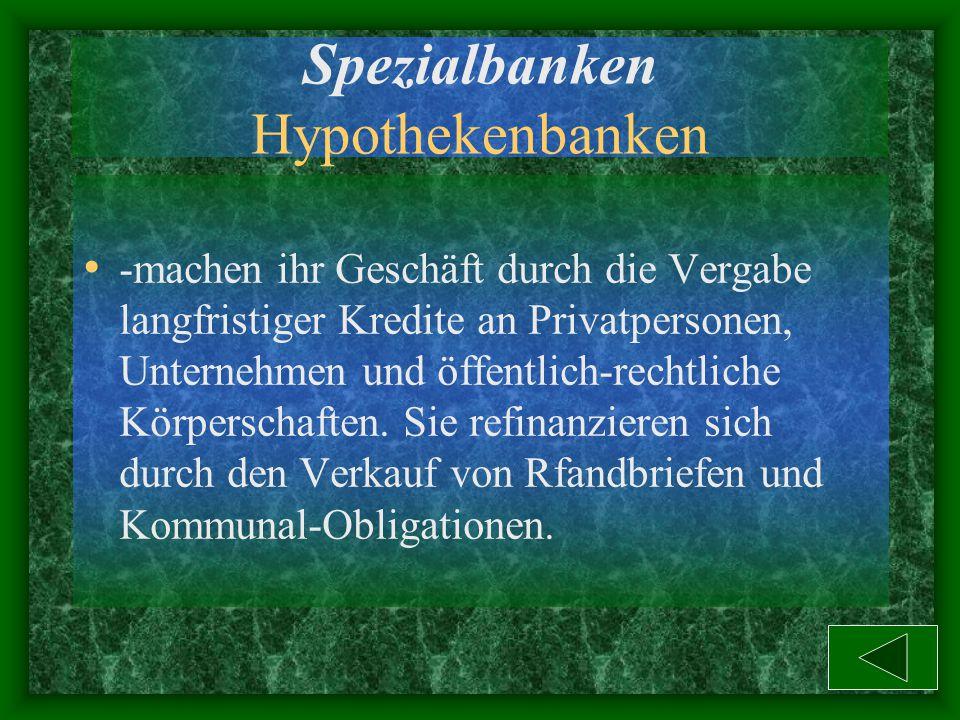 Spezialbanken Hypothekenbanken
