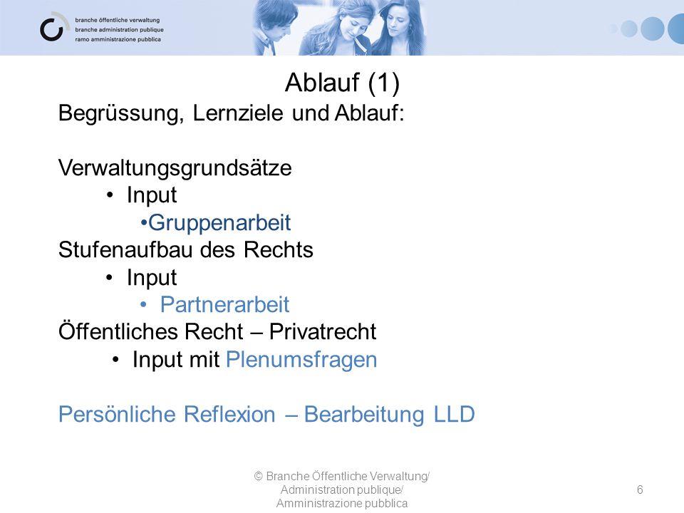 Ablauf (1) Begrüssung, Lernziele und Ablauf: Verwaltungsgrundsätze