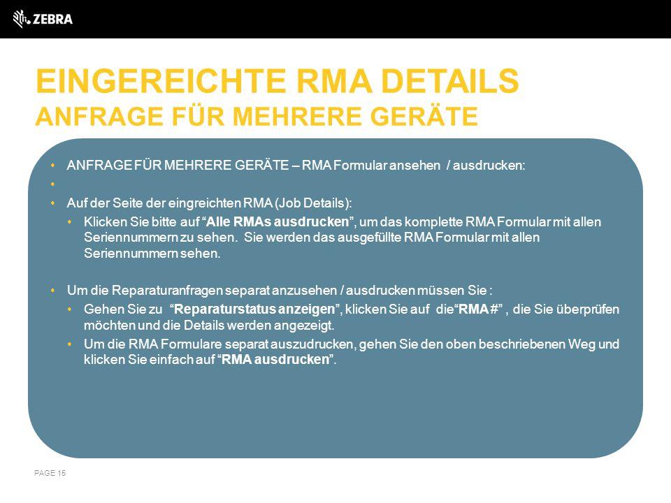 EINGEREICHTE RMA DETAILS ANFRAGE FÜR MEHRERE GERÄTE