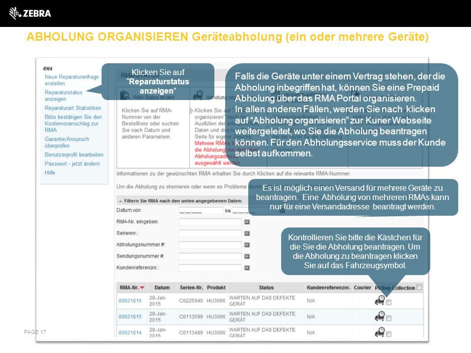 ABHOLUNG ORGANISIEREN Geräteabholung (ein oder mehrere Geräte)
