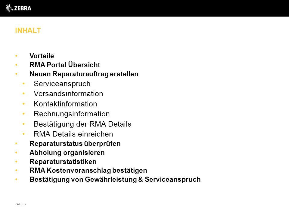 Rechnungsinformation Bestätigung der RMA Details