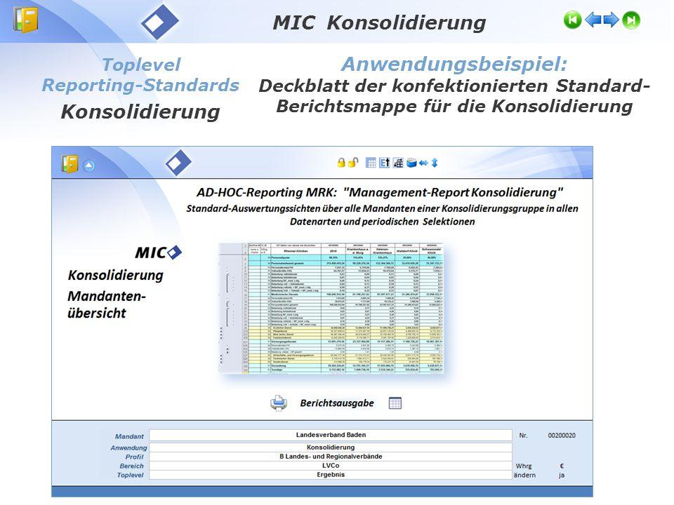 MIC Konsolidierung Anwendungsbeispiel: Konsolidierung