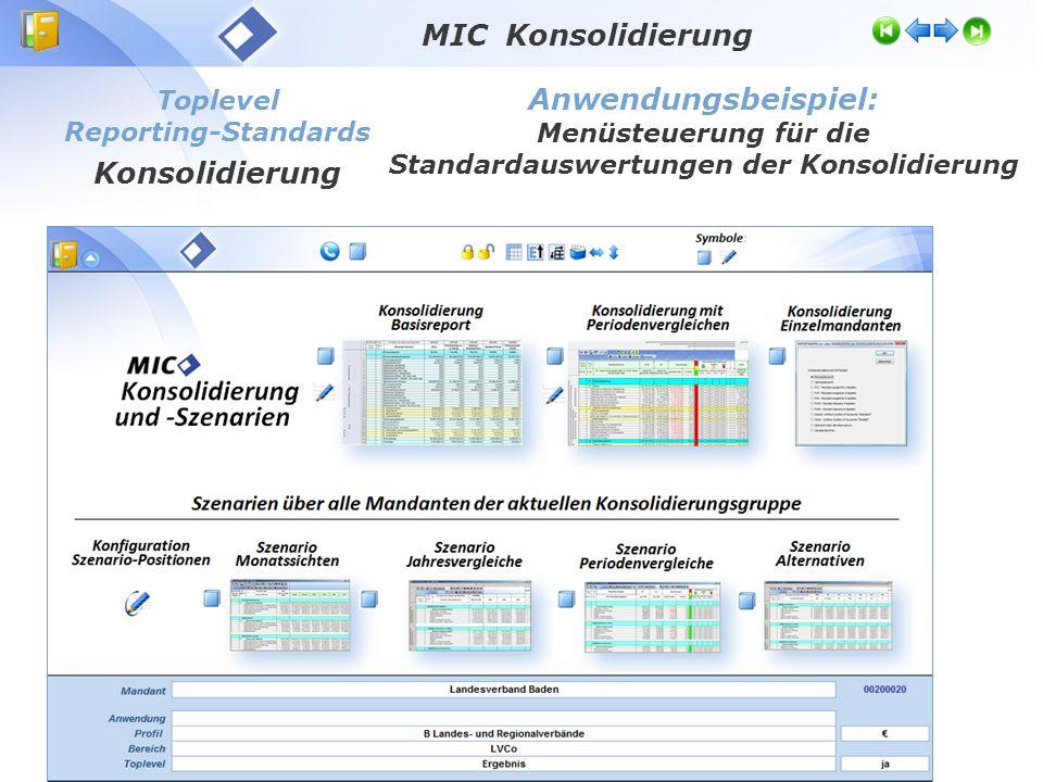 Menüsteuerung für die Standardauswertungen der Konsolidierung