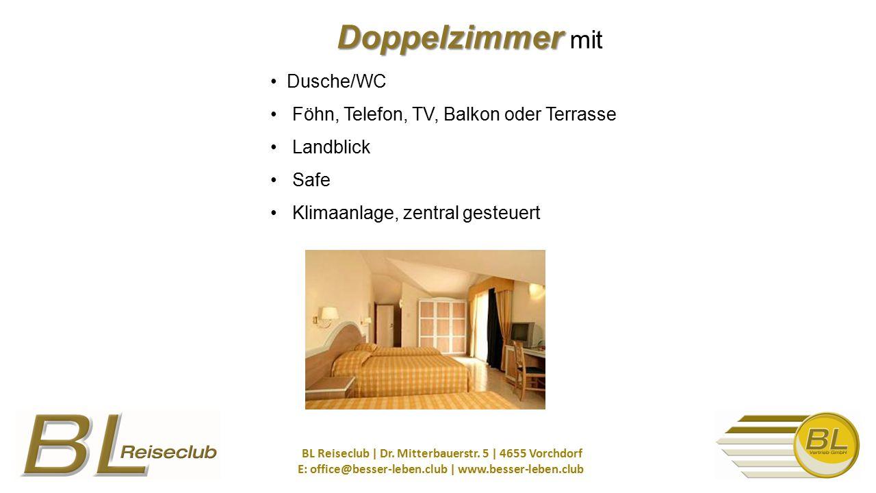 Doppelzimmer mit • Dusche/WC • Föhn, Telefon, TV, Balkon oder Terrasse • Landblick • Safe • Klimaanlage, zentral gesteuert