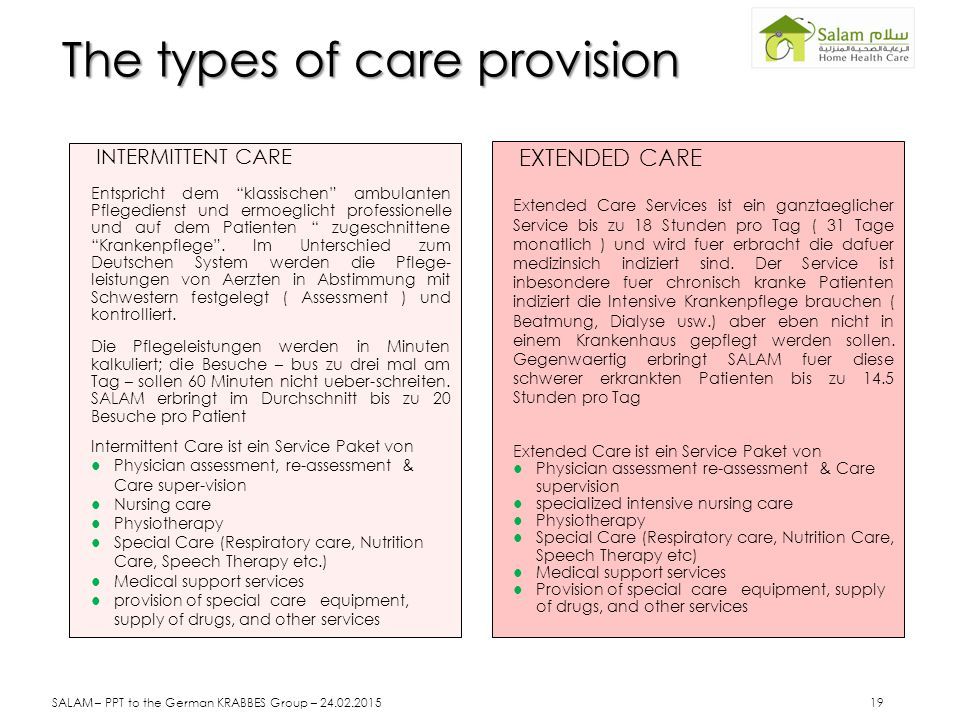The types of care provision