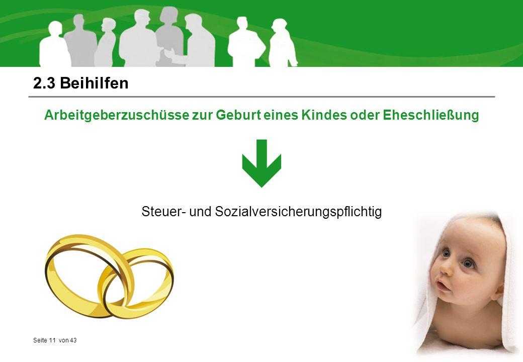 2.3 Beihilfen Arbeitgeberzuschüsse zur Geburt eines Kindes oder Eheschließung.