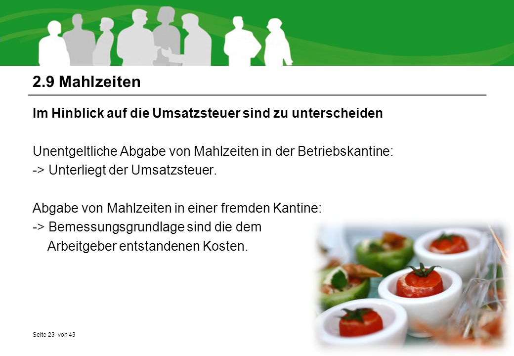 2.9 Mahlzeiten Im Hinblick auf die Umsatzsteuer sind zu unterscheiden