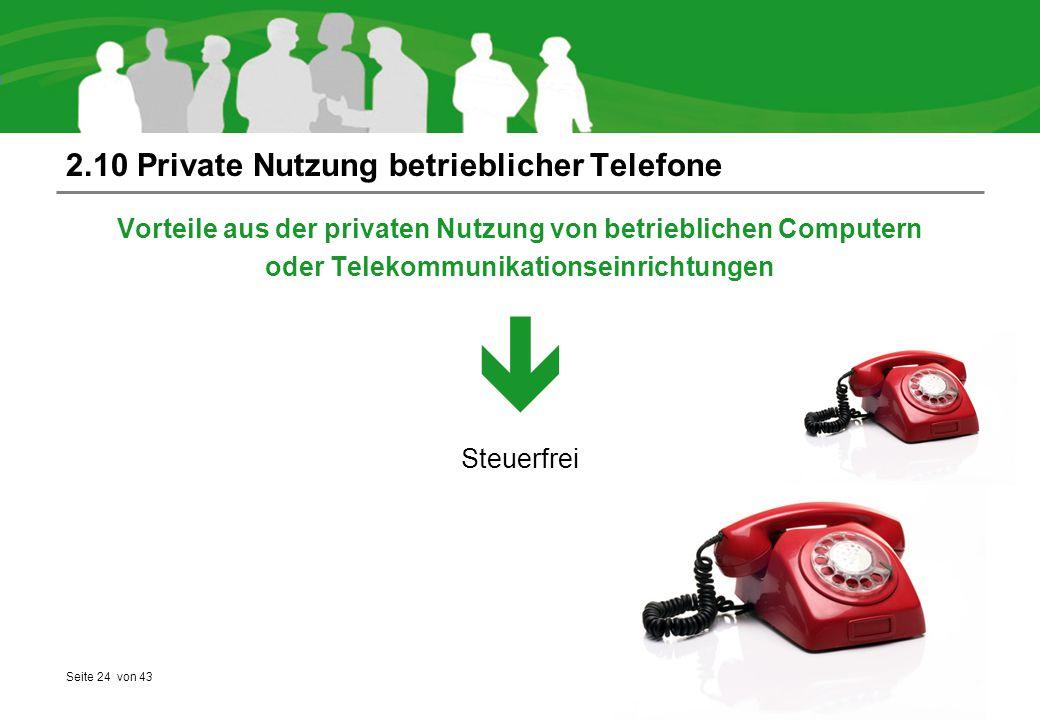 2.10 Private Nutzung betrieblicher Telefone