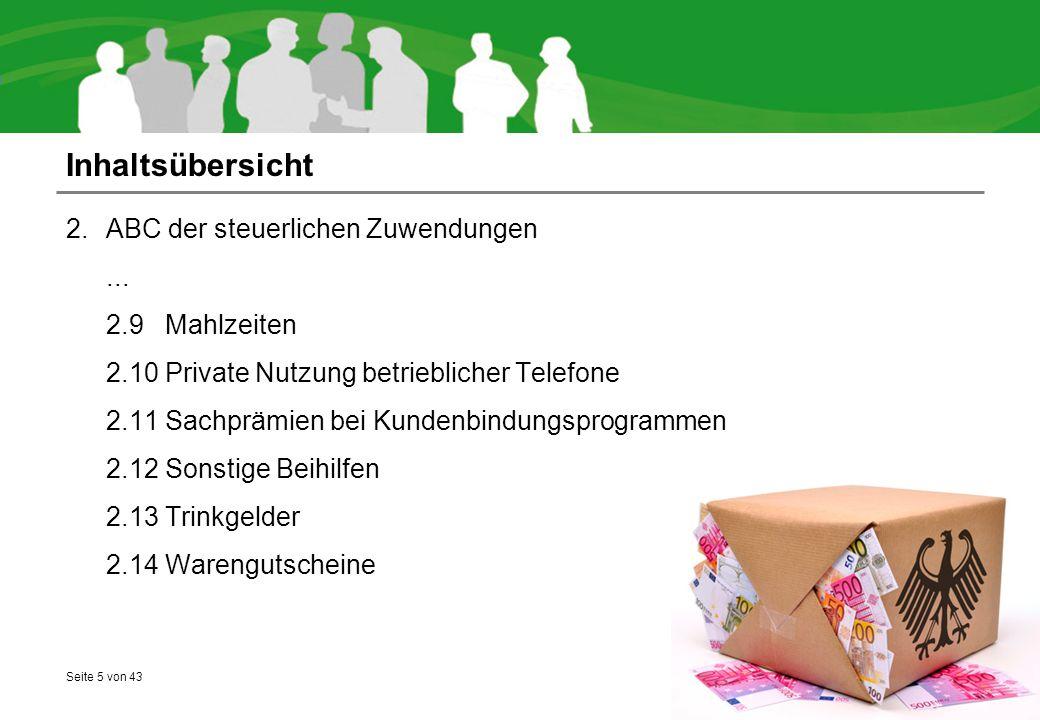 Inhaltsübersicht ABC der steuerlichen Zuwendungen ... 2.9 Mahlzeiten