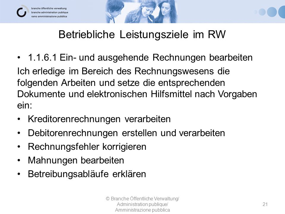 Betriebliche Leistungsziele im RW