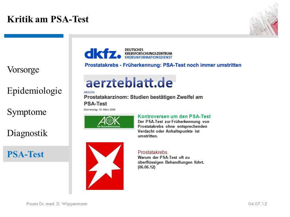 Positives am PSA-Test aus ärztlicher Sicht