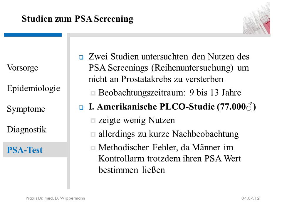 Studien zum PSA Screening