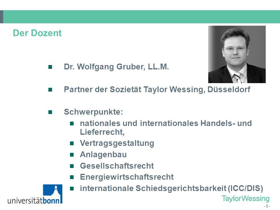 Der Dozent Dr. Wolfgang Gruber, LL.M.
