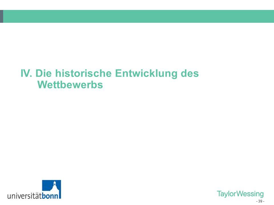 IV. Die historische Entwicklung des Wettbewerbs