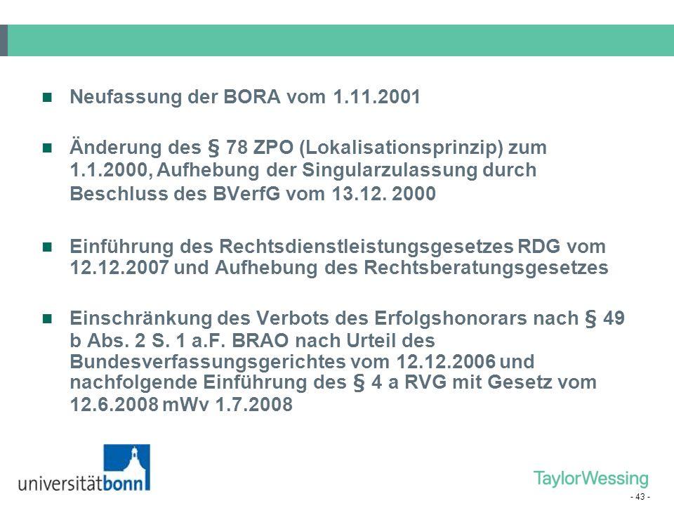 Neufassung der BORA vom 1.11.2001