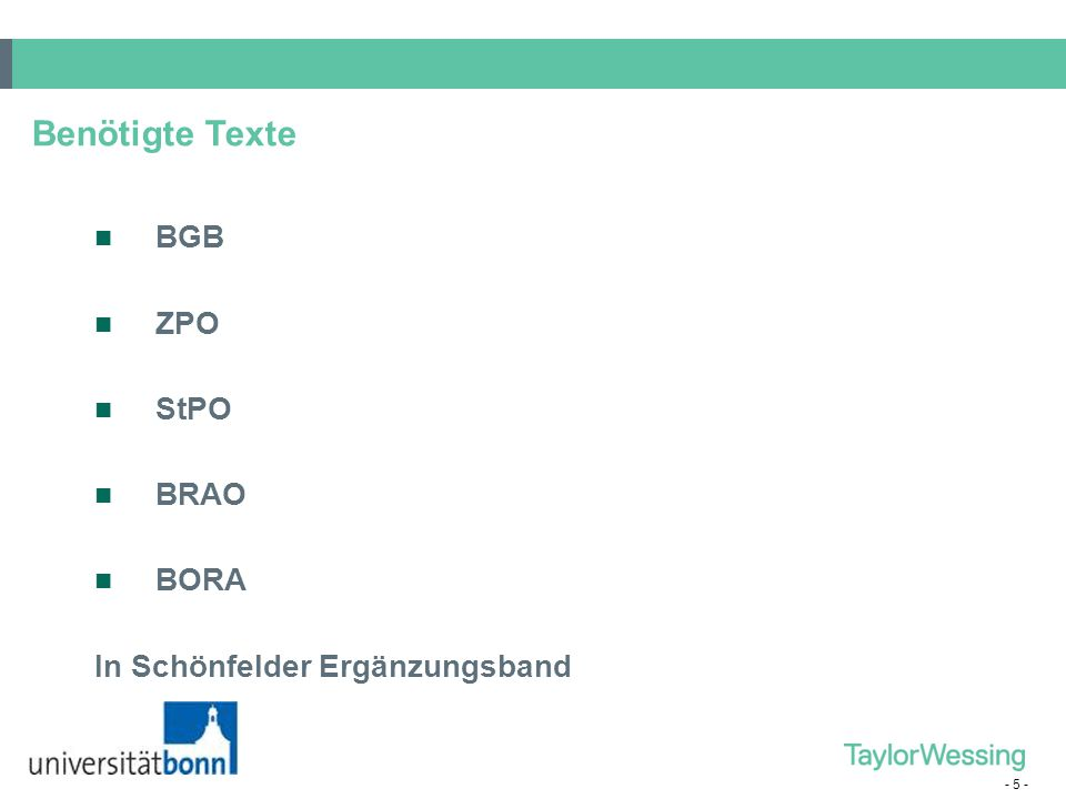 Benötigte Texte BGB ZPO StPO BRAO BORA In Schönfelder Ergänzungsband