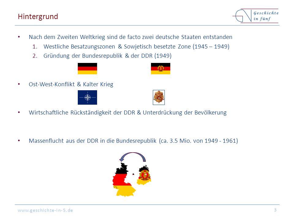 Hintergrund Nach dem Zweiten Weltkrieg sind de facto zwei deutsche Staaten entstanden.