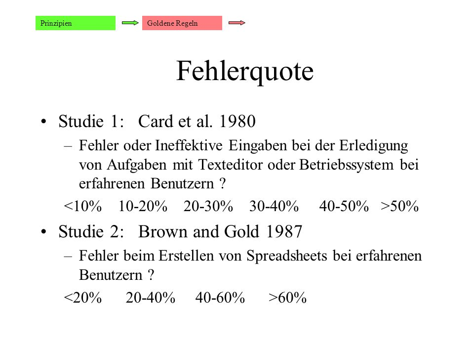 Fehlerquote Studie 1: Card et al. 1980 Studie 2: Brown and Gold 1987