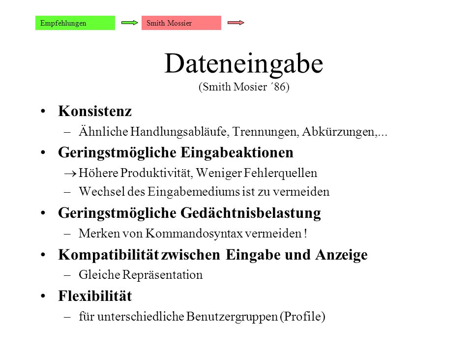 Dateneingabe (Smith Mosier ´86)