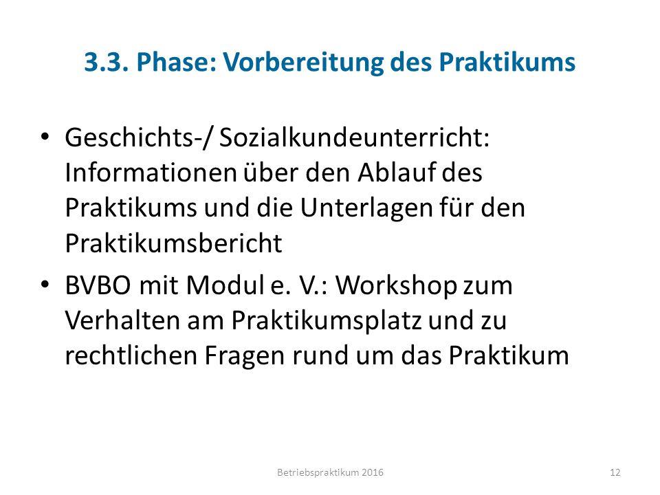 3.3. Phase: Vorbereitung des Praktikums