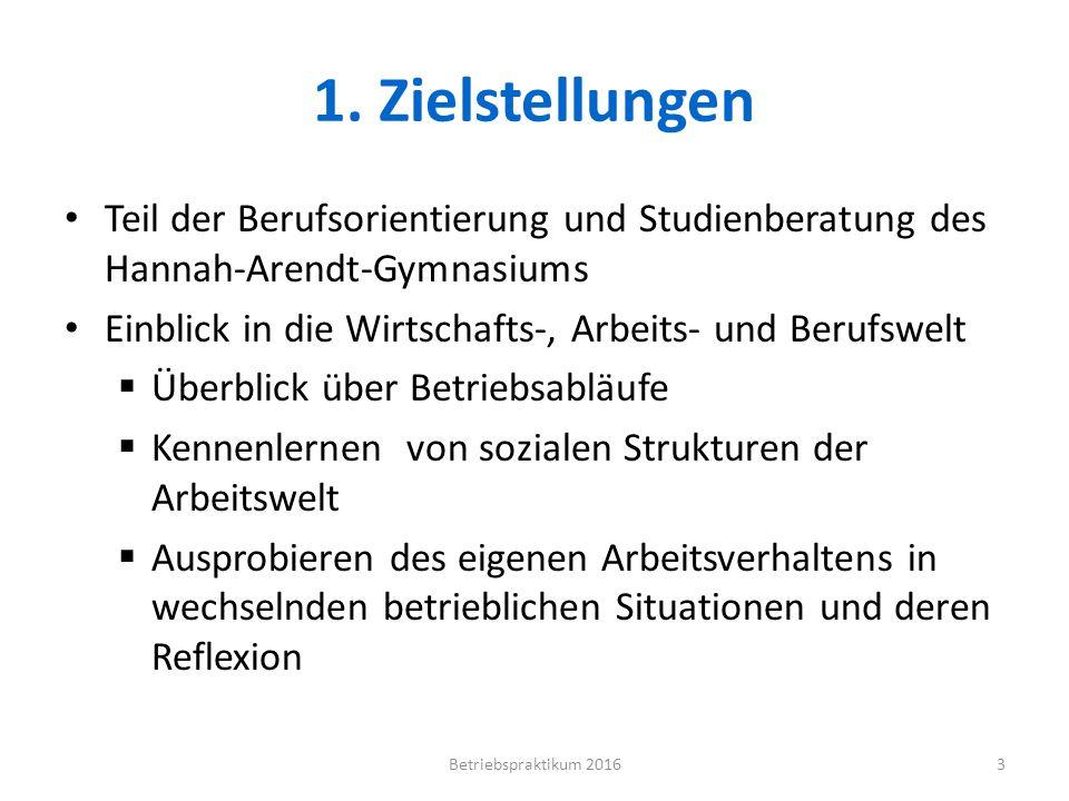 1. Zielstellungen Teil der Berufsorientierung und Studienberatung des Hannah-Arendt-Gymnasiums.