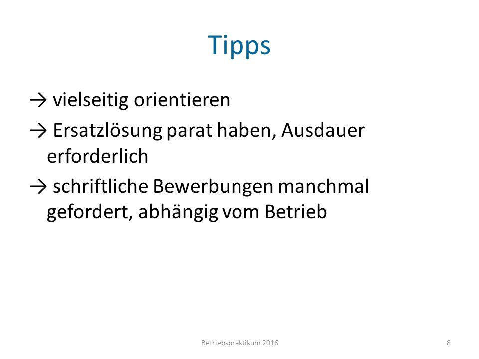 Tipps → vielseitig orientieren