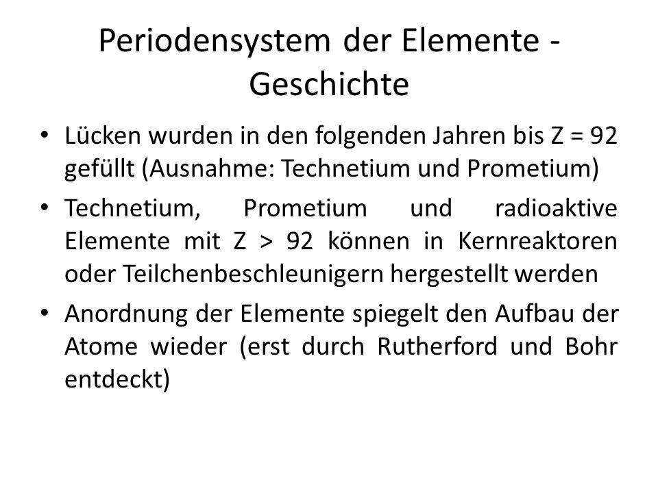 Periodensystem der Elemente - Geschichte