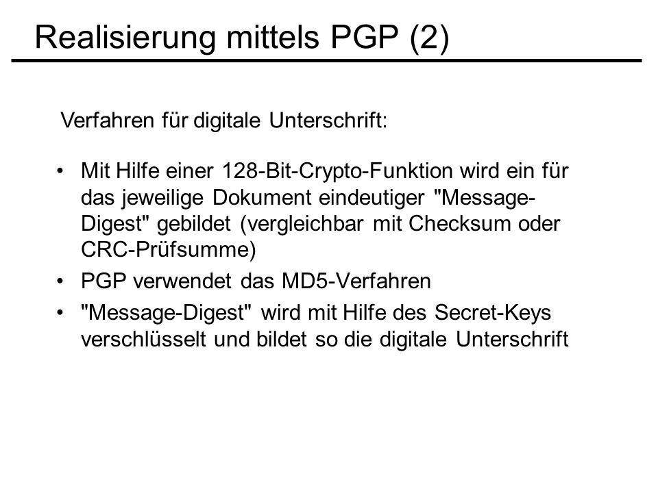 Realisierung mittels PGP (2)