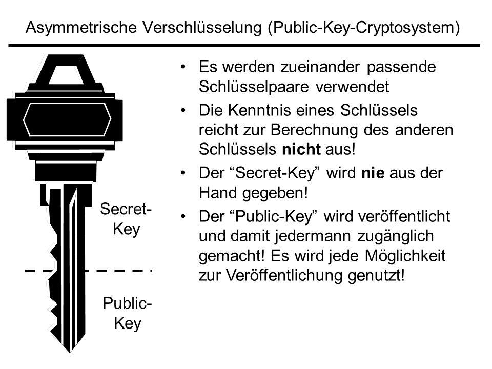 Asymmetrische Verschlüsselung (Public-Key-Cryptosystem)