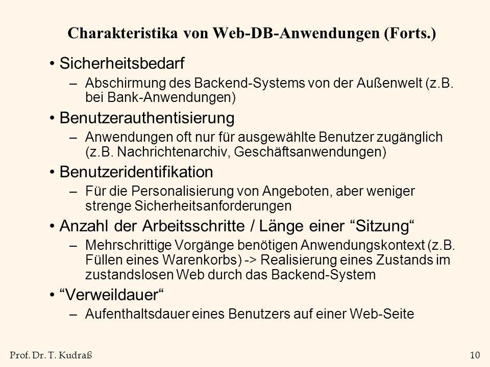 Charakteristika von Web-DB-Anwendungen (Forts.)