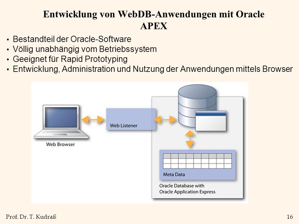 Entwicklung von WebDB-Anwendungen mit Oracle APEX