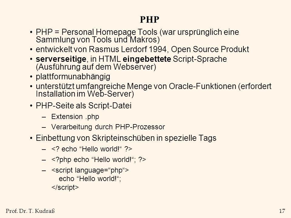 PHP PHP = Personal Homepage Tools (war ursprünglich eine Sammlung von Tools und Makros) entwickelt von Rasmus Lerdorf 1994, Open Source Produkt.