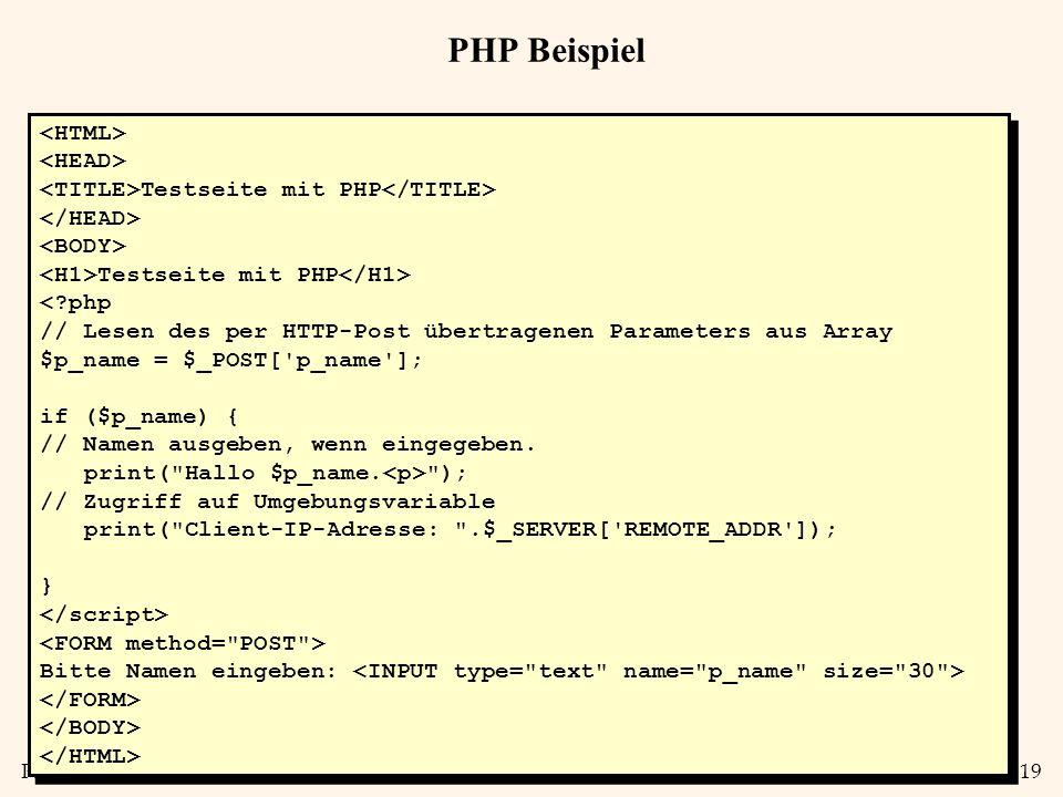 PHP Beispiel <HTML> <HEAD>