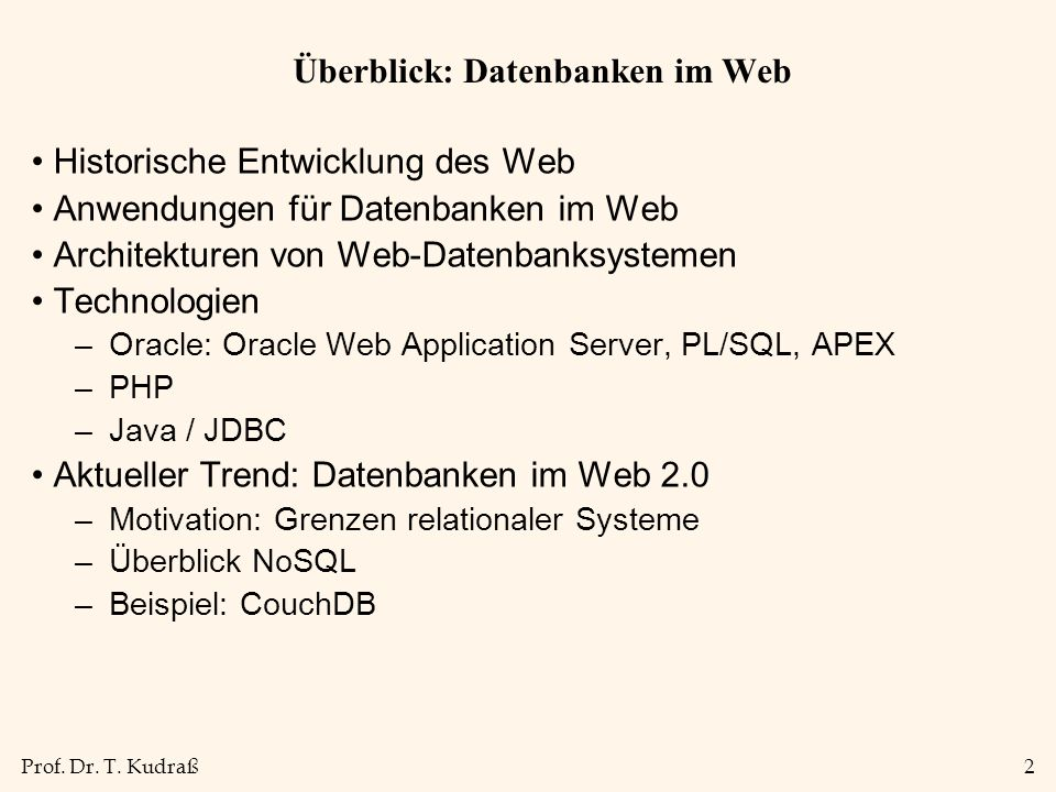 Überblick: Datenbanken im Web