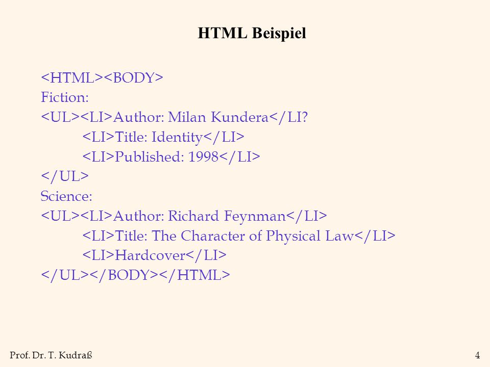 HTML Beispiel <HTML><BODY> Fiction: