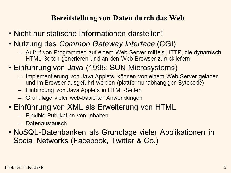 Bereitstellung von Daten durch das Web