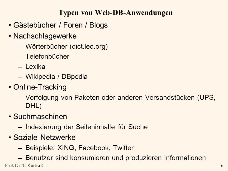 Typen von Web-DB-Anwendungen
