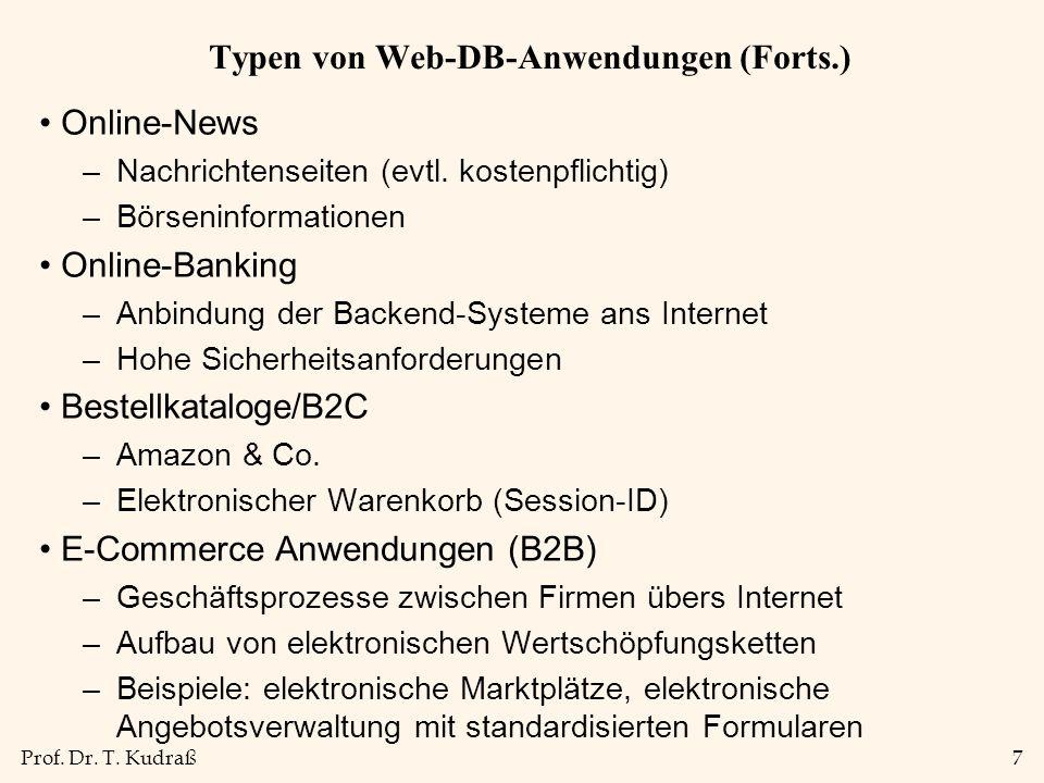 Typen von Web-DB-Anwendungen (Forts.)