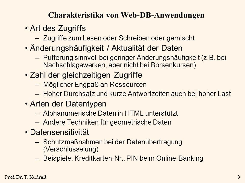 Charakteristika von Web-DB-Anwendungen