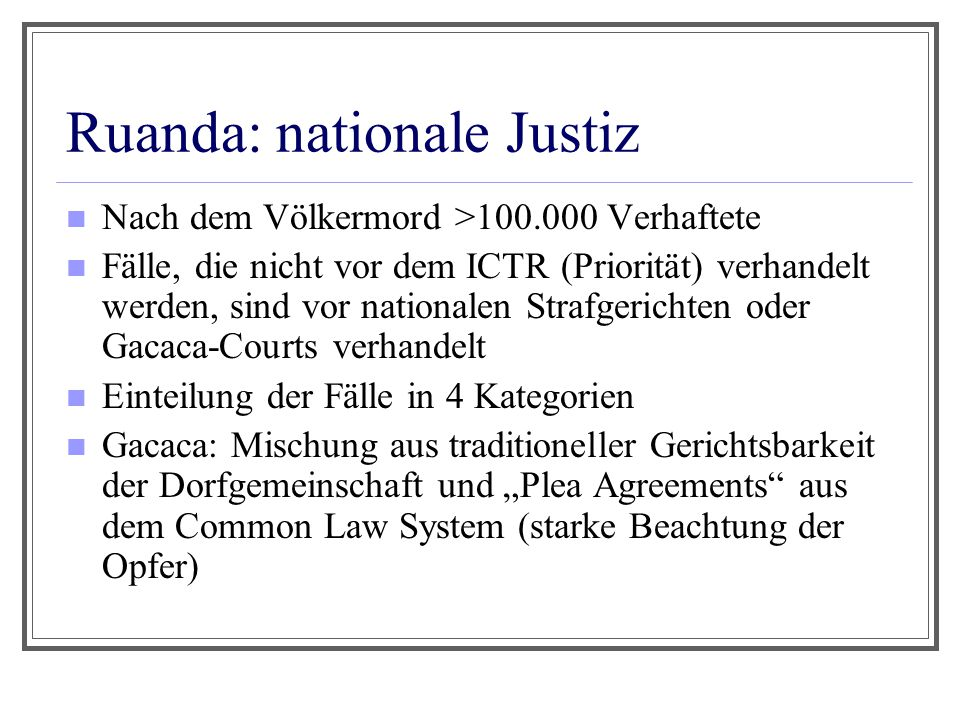 Ruanda: nationale Justiz