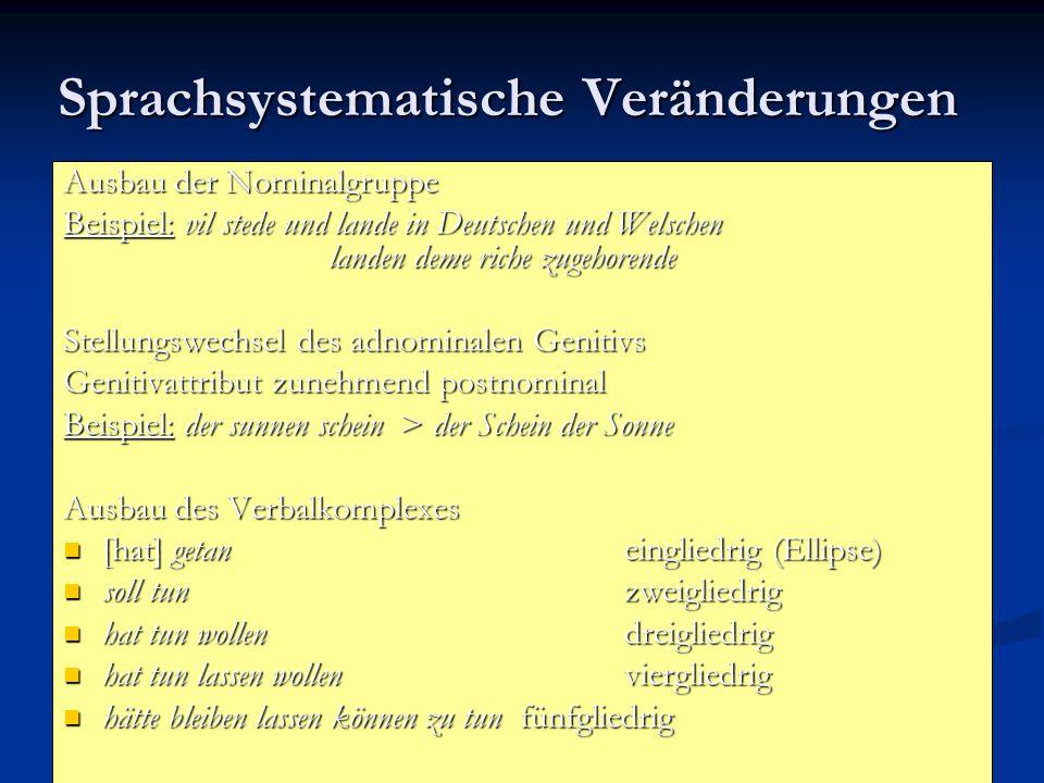 Sprachsystematische Veränderungen