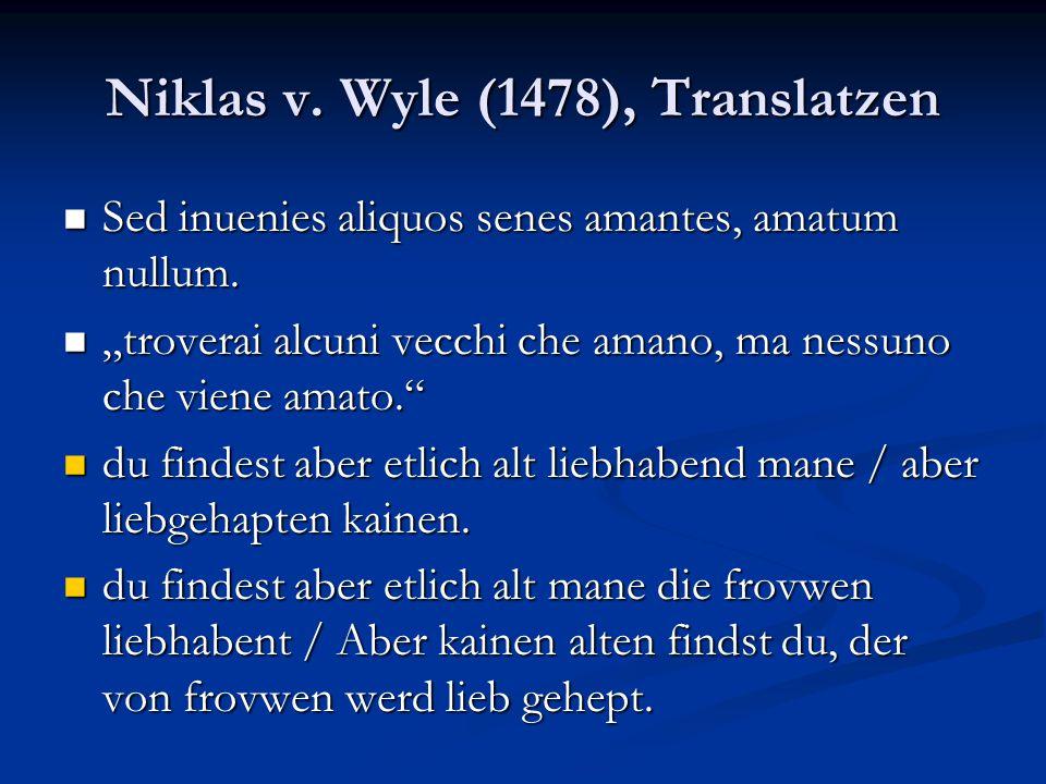 Niklas v. Wyle (1478), Translatzen
